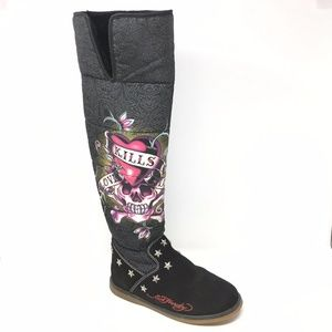 Women's Ed Hardy Tall Winter Boots Shoes Size 6M
